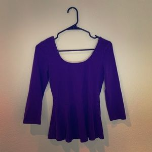 Purple quarter sleeve peplum